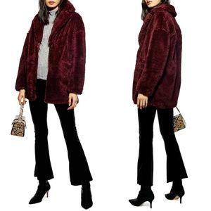 Topshop Bobby Faux Fur Burgundy Maroon Coat